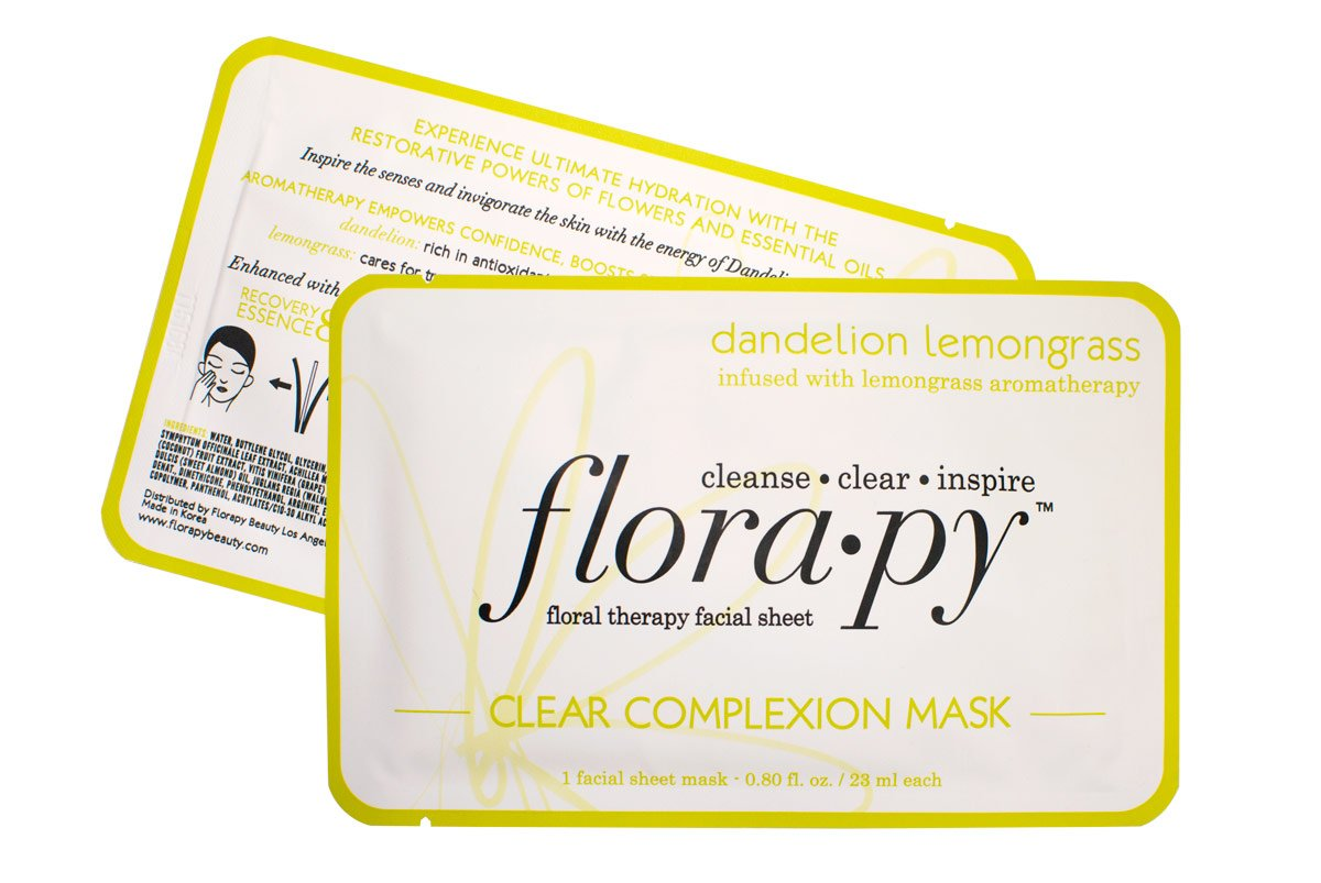 Aromatherapy Facial Sheet Mask - Hydrating - Essential Oils - Clear Complexion Dandelion Lemongrass (Single) by Florapy Beauty