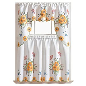 "GOHD - 3pcs Kitchen Curtain/Cafe Curtain Set, Air-Brushed by Hand of Sunflower & Butterfly Design on Thick Satin Fabric (Swag & 36"" Tiers Set)"