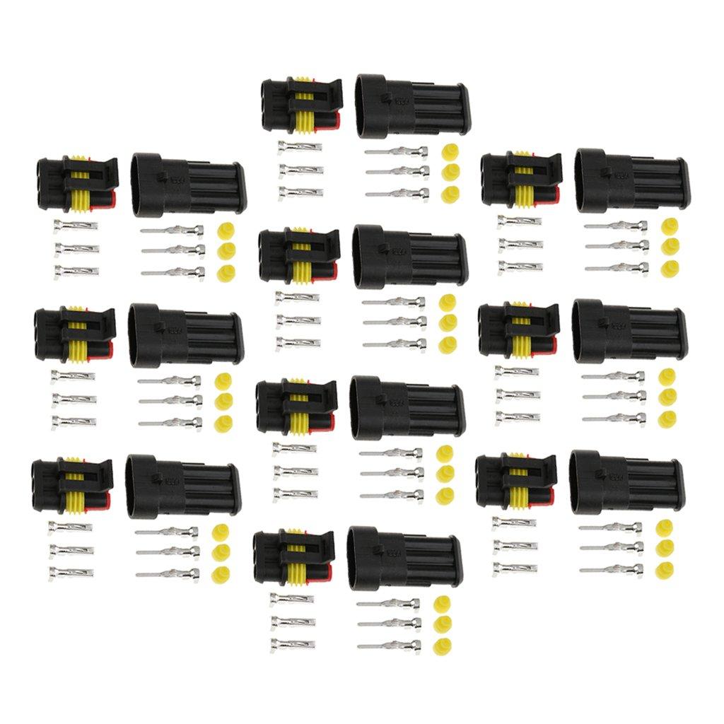 MagiDeal 10pcs Kit di Maschio Femmina Terminale e Connettori 1.5mm Pin 3 Poli Connettori per Auto Moto Ciclomotori Autocarri Roulotte Barche Quads