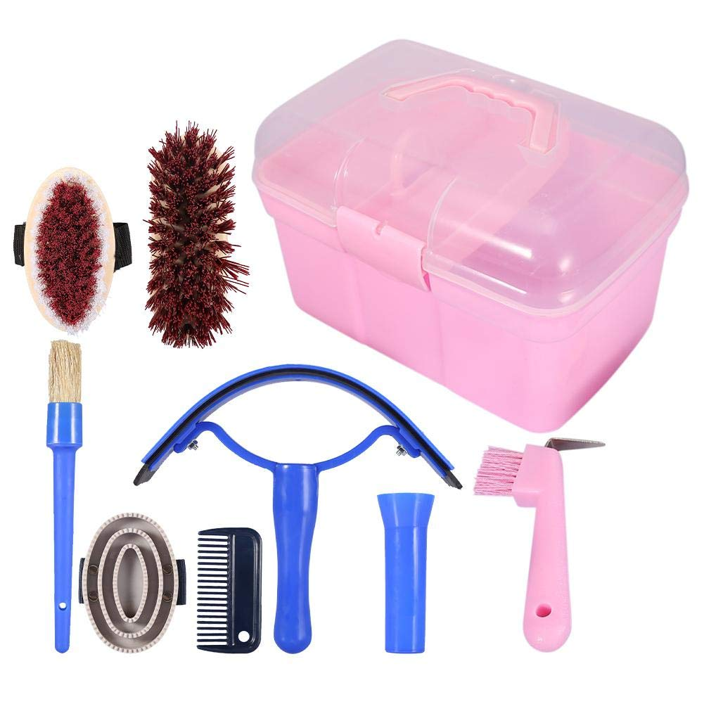 7-Piece Horse Grooming Kit Equine Care Series Equestrain Brush Curry Comb Horse Cleaning Brushes Set Horse Pony Comfort Massage Tool with Storage Box