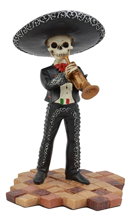 Ebros Day Of The Dead Black Mariachi Skeleton Figurine 55tall Folk Musician Gothic Trumpet Player Statue