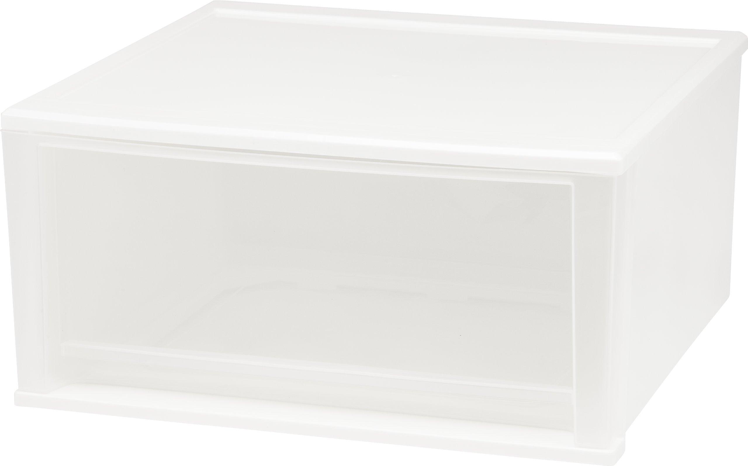 IRIS 51 Quart Stacking Drawer, 2 Pack, White
