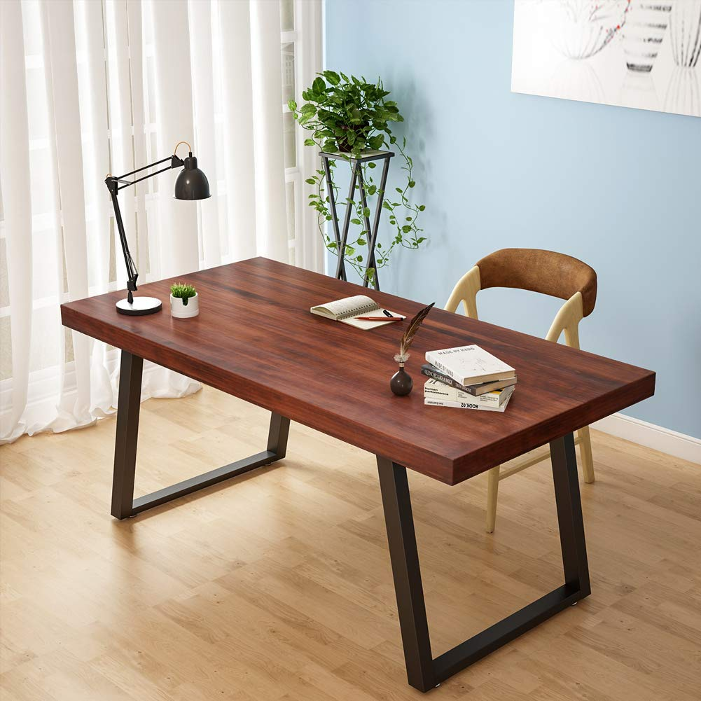 Tribesigns 55'' Rustic Solid Wood Computer Desk with Reclaimed Look, Vintage Industrial Home Office Desk Features Heavy-Duty Metal Base Works As Writing Desk or Study Table (Cherry)