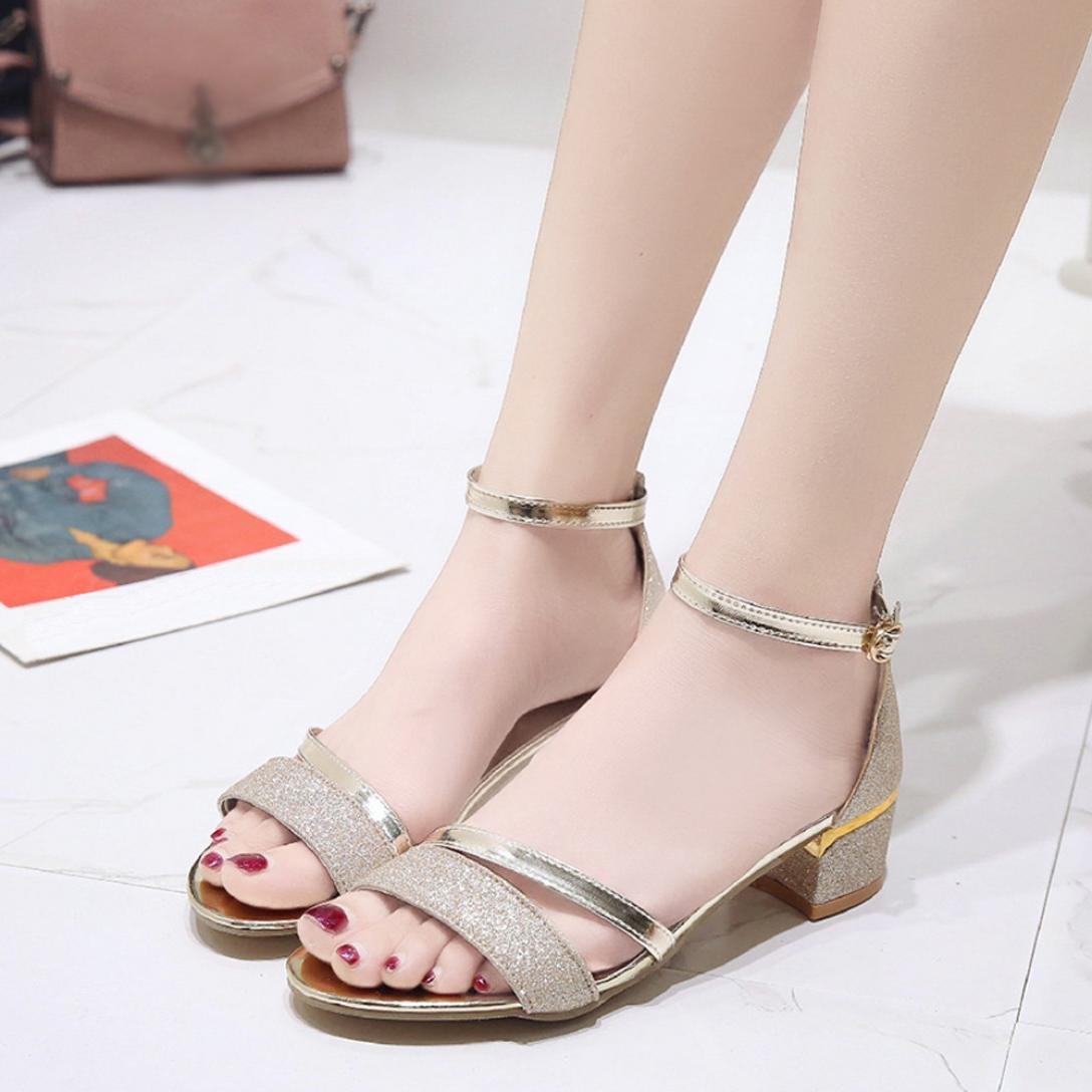 fb1ef25e8a8 K-Youth Sandalias Mujer Verano Lentejuelas Zapatos Cuña Tacon Alto ...