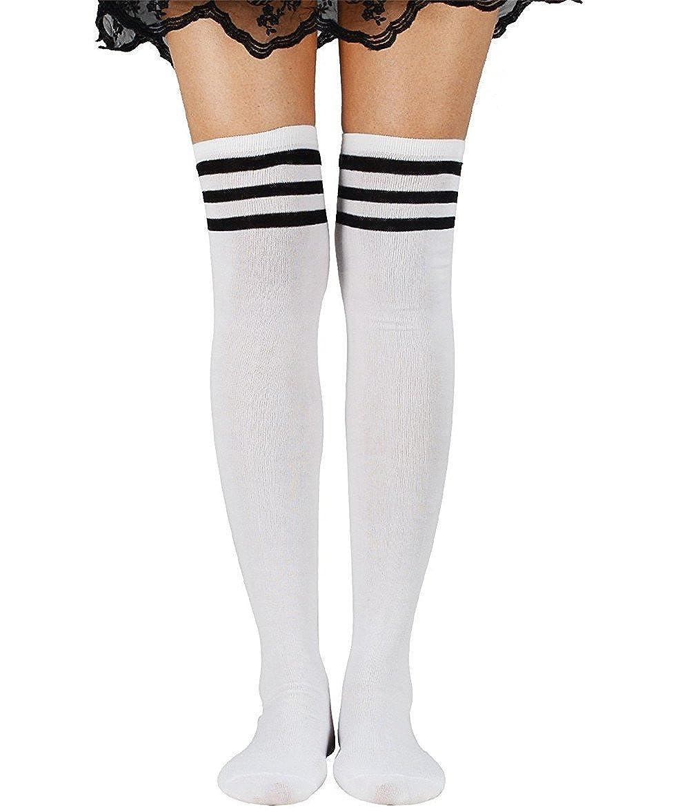 Kfnire 2PCS calze da donna con calzettoni in cotone a righe infradito calze a tre coste con calzamaglia lunga e morbida
