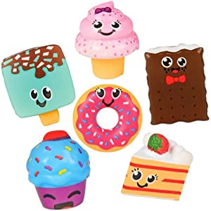 Kicko 3 Inch Slow Rising Assorted Dessert Squishies - 6 pc Medium Sized Scented Sweets Simulation - Room Decoration, Party Favors, Birthday, Baby Showers, Stress Reliever, Learning Tool