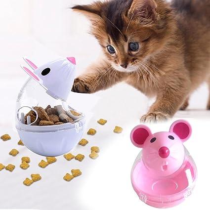 Rosepoem Juguete de vaso de gato Dispensador de alimentos Interesante 5 * 7 cm 2 colores