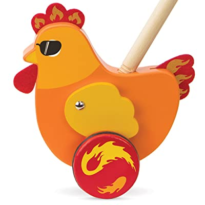 Imagination Generation Radical Racers Spicy Chicken Wooden Push-Along Walking Toy: Toys & Games