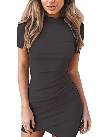 3b2f700e0a Haola Womens Ruched Bodycon T Shirt Dress Casual Short Sleeve Irregular  Party Mini Dress Black S