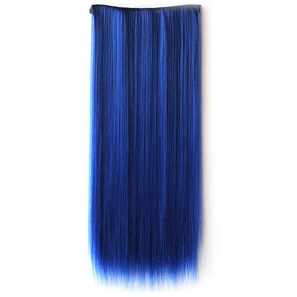 60cm Length One Piece Long Hair Piece Wig Straight Clip In Human