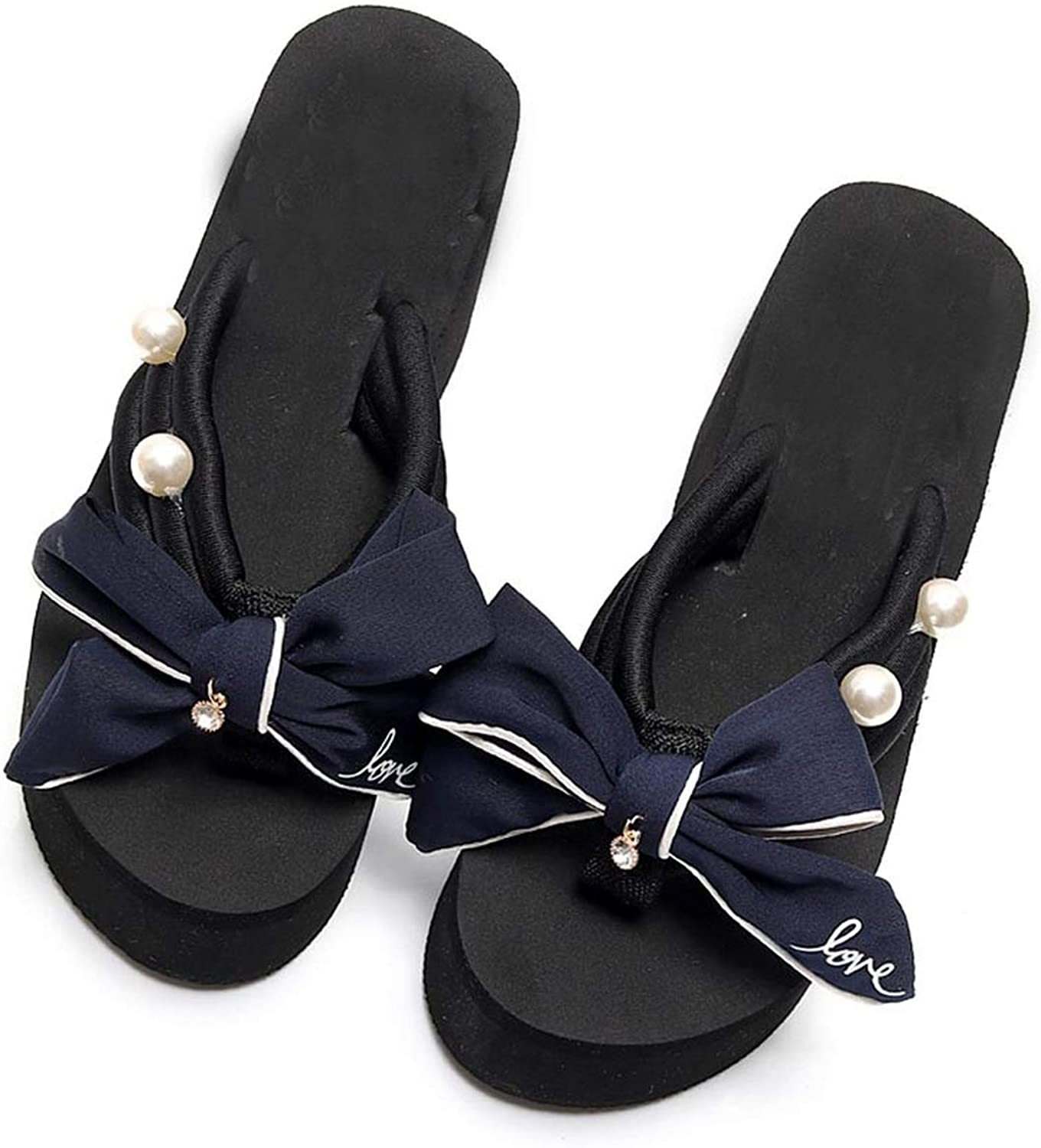 Indoor Plush Size House Shoes Woman Women Ladies Girls Pearl Bowknot Wedges Flip Flops Sandals Slippers Beach Shoes#515,Black,37,United States