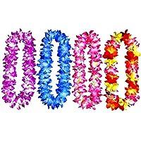 4 piezas de Hawai Leis Hula Dance Guirnalda de flores artificiales lazo para el cuello (4 colores, engrosado)