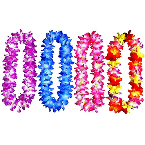 4pcs Hawaiian Leis Hula Dance Garland Artificial Flowers Neck Loop(4 Colors,Thickened) -