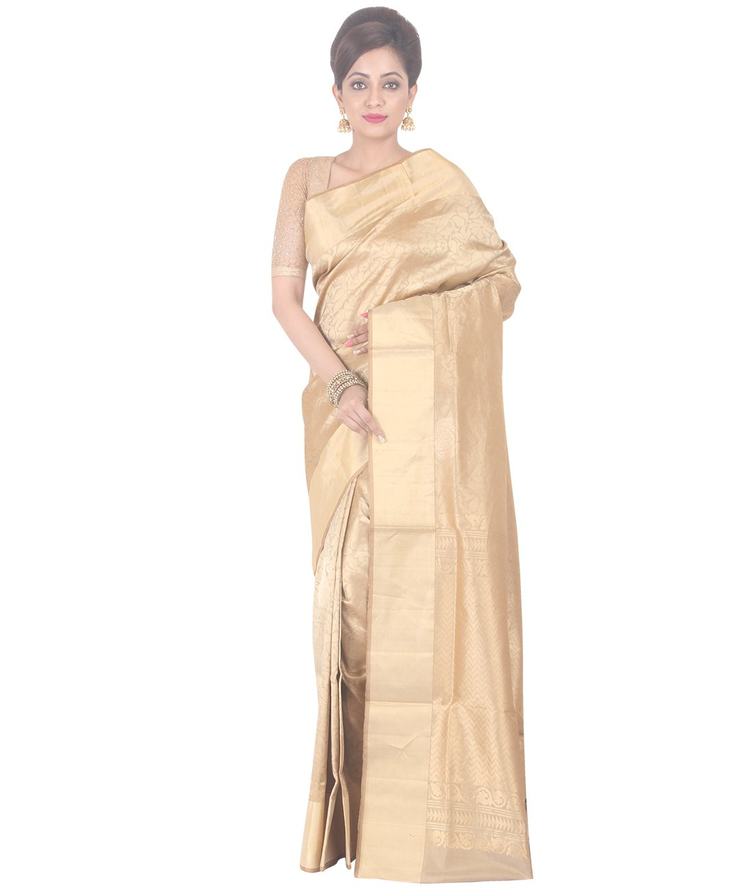 Indian Ethnic Upadda Silk Beige Uppada Saree