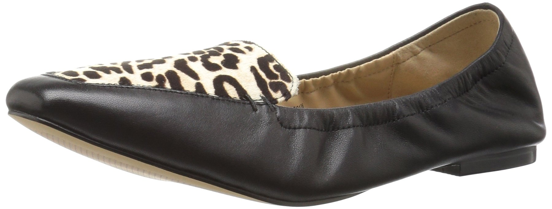 The Fix Women's Zaylie Scrunch Loafer Flat, Black/Snow Leopard, 7 B US
