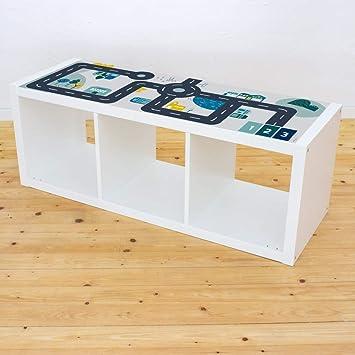 Limmaland - Adhesivo Decorativo para Muebles con diseño de Calles, Apto para estantería IKEA Kallax, 3 Compartimentos, para habitación Infantil, Mesa ...