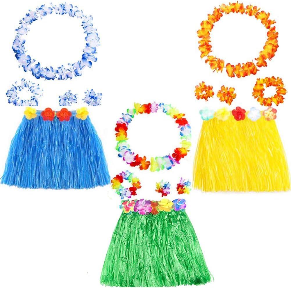 Yojoloin 15 Piezas Hawaianas Leis Luau Flores con 6 Pulseras 3 Diademas y 3 Collares 3 Faldas para Luau Hawaiian Party Decoraciones Suministros Photo Booth Props. (15PCS)