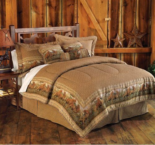 Amazon Com 5 Pieces Light Brown Jacquard Wild Horse Comforter Set