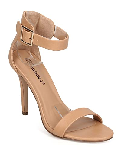 cfc12c105f4c Breckelle s Women Leatherette Open Toe Ankle Strap Single Band Stiletto  Sandal Natural 6.5