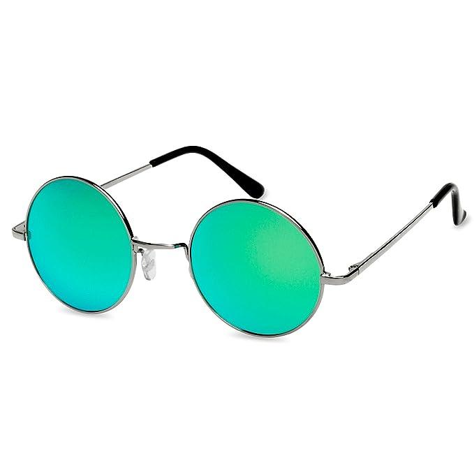 CASPAR SG038 große runde Retro Lennon Sonnenbrille / Rundbrille / Hippi Brille / Nickelbrille - Übergröße , Farbe:silber / schwarz