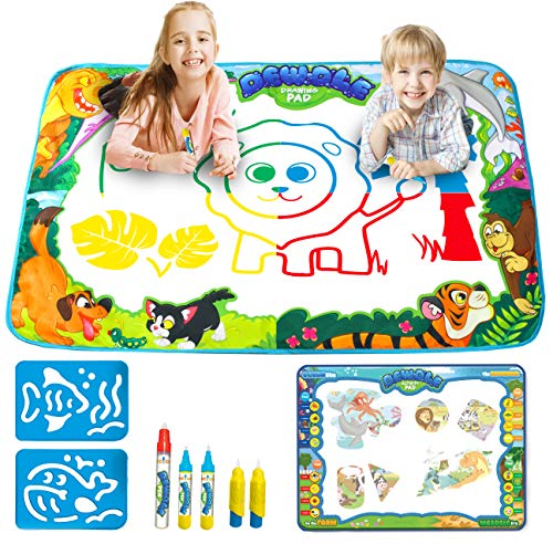 JOYIN Klever Kits 2 Pieces Water Doodle Mats 34.5x22.5 Kids Aqua Magic Water Drawing Mat Painting Writing Activity Boards Toy for Boys and Girls Age 2-5 Years Old, Todler Educational Gift