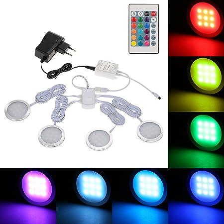 Lixada 4PCS RGB LED Kabinett Licht Installationssatz mit Fernbedienung für Bücherschrank Wandschrank, Dünne Runde Form Unterb