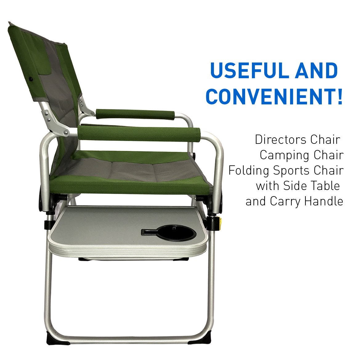 Amazon.com : Directors Chair   Camping Chair   Folding Sports Chair With  Side Table And Carry Handle   Green With Gray Trim : Sports U0026 Outdoors