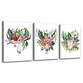 Deer Canvas Prints Wall Decor Art Simple Life Antlers Greenery Flowers Decoration Painting Contemporary Pictures 12 X 16 3 Pieces Set Moderntropic