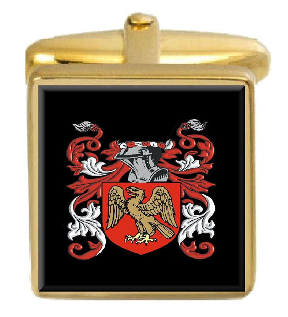 Select Gifts Blessett England Family Crest Surname Coat Of Arms Gold Cufflinks Engraved Box