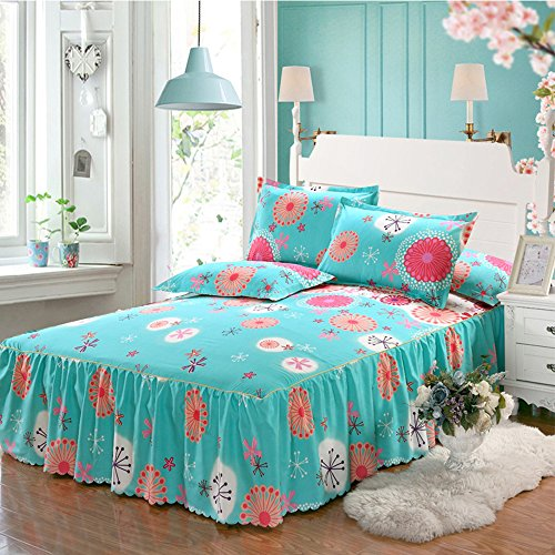 Yunhigh Floral Fitted Valance Bed Sheet Ruffle Queen Size Bed Skirt