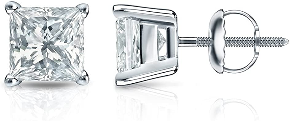 1//4cttw,Excellent Quality 14k White Gold Round Diamond Simulated Cubic Zirconia SINGLE STUD Earrings 4-Prong