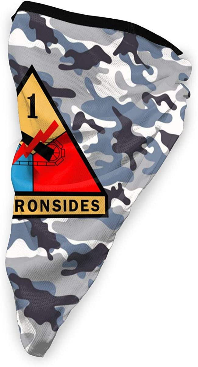 Army 1st Armored Division Outdoor Face Mouth Mask Windproof Sports Mask Ski Mask Shield Scarf Bandana Men Woman
