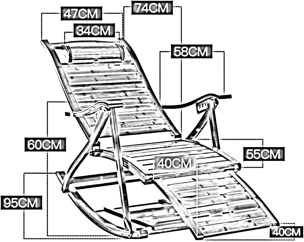 Bseack Silla Mecedora, Ajustable 170 ° ángulo de Descanso de Madera Maciza Plegable Silla de la Siesta con reposapiés balcón Cubierta Silla de salón (Color : Negro) Negro