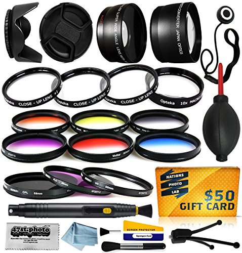 58mm Professional Lenses Filters Accessories Kit includes 0.43x Wide Angle + 2.2x Telephoto HD Lens + UV CPL Warming + Graduated 6 Piece Color Filter + Macro Close Up Set + Tulip Lens Hood + Lens Cap with Keeper + Cleaning Kit + Dustoff Blower + 50$ Digital Prints for Canon EOS 6D 7D 10D 20D 20Da 30D 40D 50D 60D 70D 100D 300D 350D 400D 450D 500D 550D 600D 650D 700D 1000D 1100D 1200D M M2 DSLR SLR Digital Camera Review