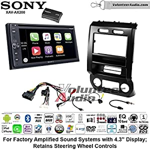 Sony XAV-AX200SXM Double Din Radio Install Kit with Bluetooth Android Auto Apple Carplay Fits 2015-2016 Ford F-150, 2017 Ford F-250