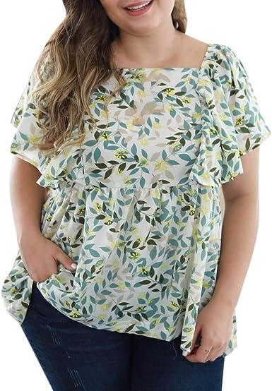 Amlaiworld Blusa Oversize para Mujer, Camisa de Talla Grande para Mujer Camisa con Cuello en O con Estampado Floral Manga de Altavoz de Verano para Mujer Camisas Tops Blusas Pullover: Amazon.es: Ropa