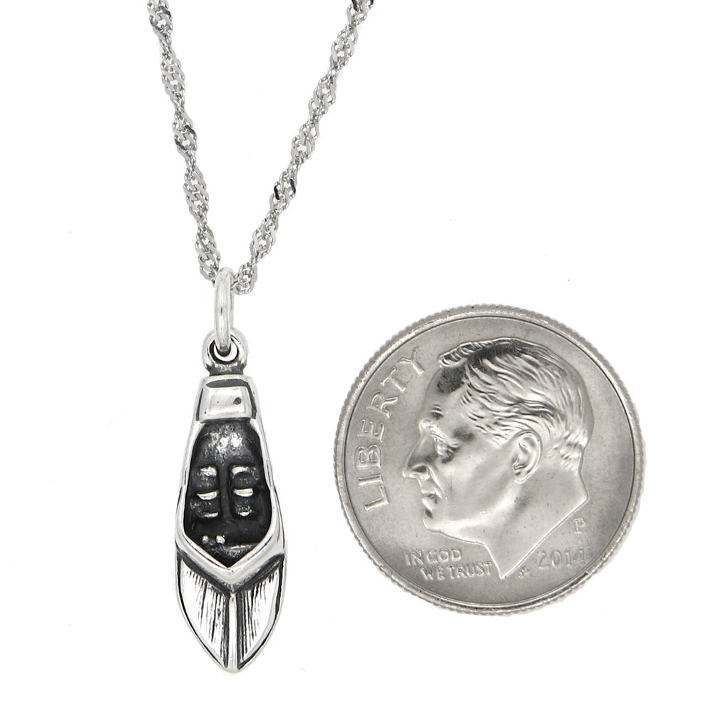 Sterling Silver Oxidized Speed Boat Charm with Thin Singapore Necklace