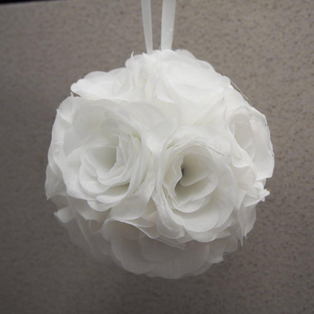 Party Spin Pomander Flower Balls Wedding Centerpiece, 6-inch, White