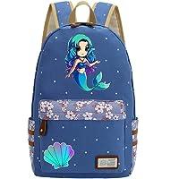 Mermaid Unicorn Flowers Canvas Princess Women Backpack Shoulder Bag Light Blue 2