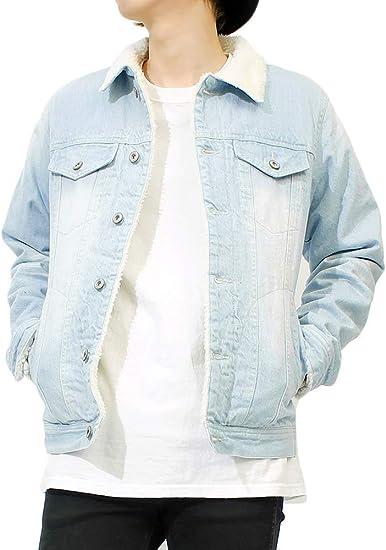 [one colors] ボア デニムジャケット メンズ あったか 裏ボア もこもこ Gジャン ヴィンテージ ユーズド加工 ブルゾン ジャケット