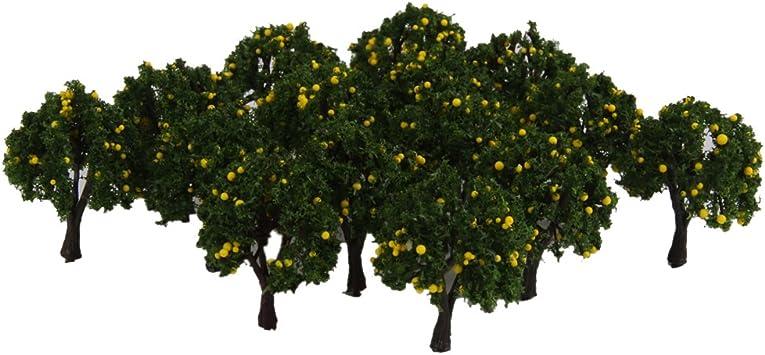 Baoblaze Modelo De Tren 20pcs Verde árboles Frutales Calle Jardín Escala 1/300 Diseño 4cm - Amarillo: Amazon.es: Juguetes y juegos