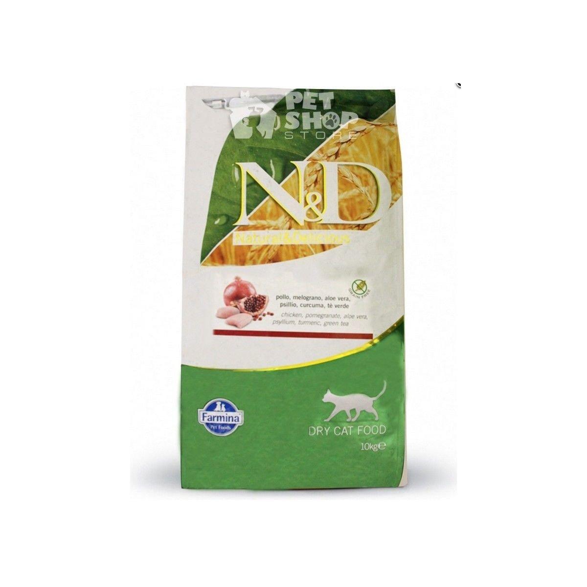 Farmina N&D Grain Free Adult Cat con Pollo e Melograno per Gatti 10 kg: Amazon.es: Productos para mascotas