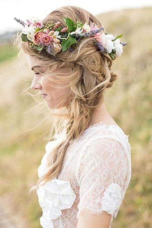Bride Flowers Headband Women Beach Hair Accessories Adjustable