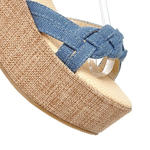 AllhqFashion Women's Open Toe High Heels Solid Soft Material Buckle Sandals Blue PKBYw5R