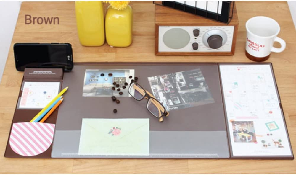 STAR-TOP Desk MAT Large Size Mouse pad,Anti-Slip Desk Mouse Mat Waterproof Desk Protector Mat with Smartphone Stand, Pockets, Dividing Rule, Calendar and Pen Groove