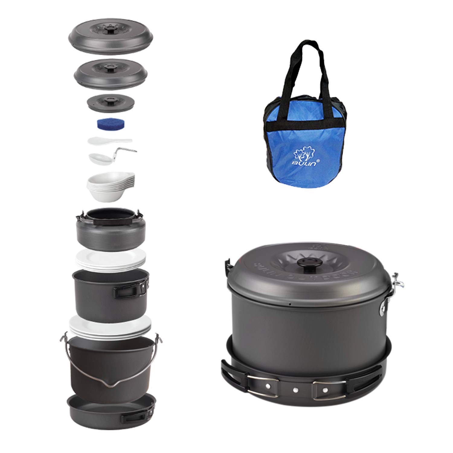 Bulin 27 Pieces Camping Cookware Mess Kit, Nonstick Outdoor Backpacking Cooking Gear Set for Family 6-7 Person, Lightweight Cookware Sets(Kettle, Pots, Frying Pan, BPA-Free Bowls, Plates, Spoon) by Bulin