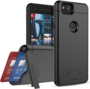 Teelevo Wallet Case for Google Pixel 2, Dual Layer Case with Card Slot Holder and Kickstand for Google Pixel 2 - Black