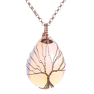 Jovivi vintage tree of life wire wrapped copper teardrop opalite jovivi vintage tree of life wire wrapped copper teardrop opalite gemstones pendant necklace aloadofball Image collections