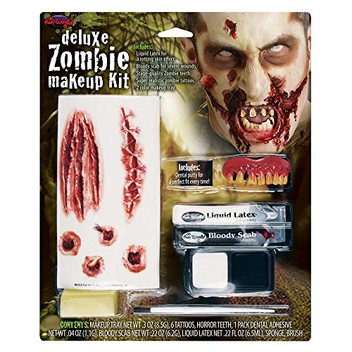 Zombie Neck Halloween Makeup (Fun World Deluxe Zombie Wound Halloween Costume Makeup)
