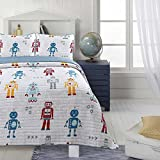 LO 3 Piece Kids White Grey Flying Airplanes Quilt Full Queen Set, Old Fashion Vintage Air Planes Bedding Classic Antique Pilot Themed Aircraft, Microfiber